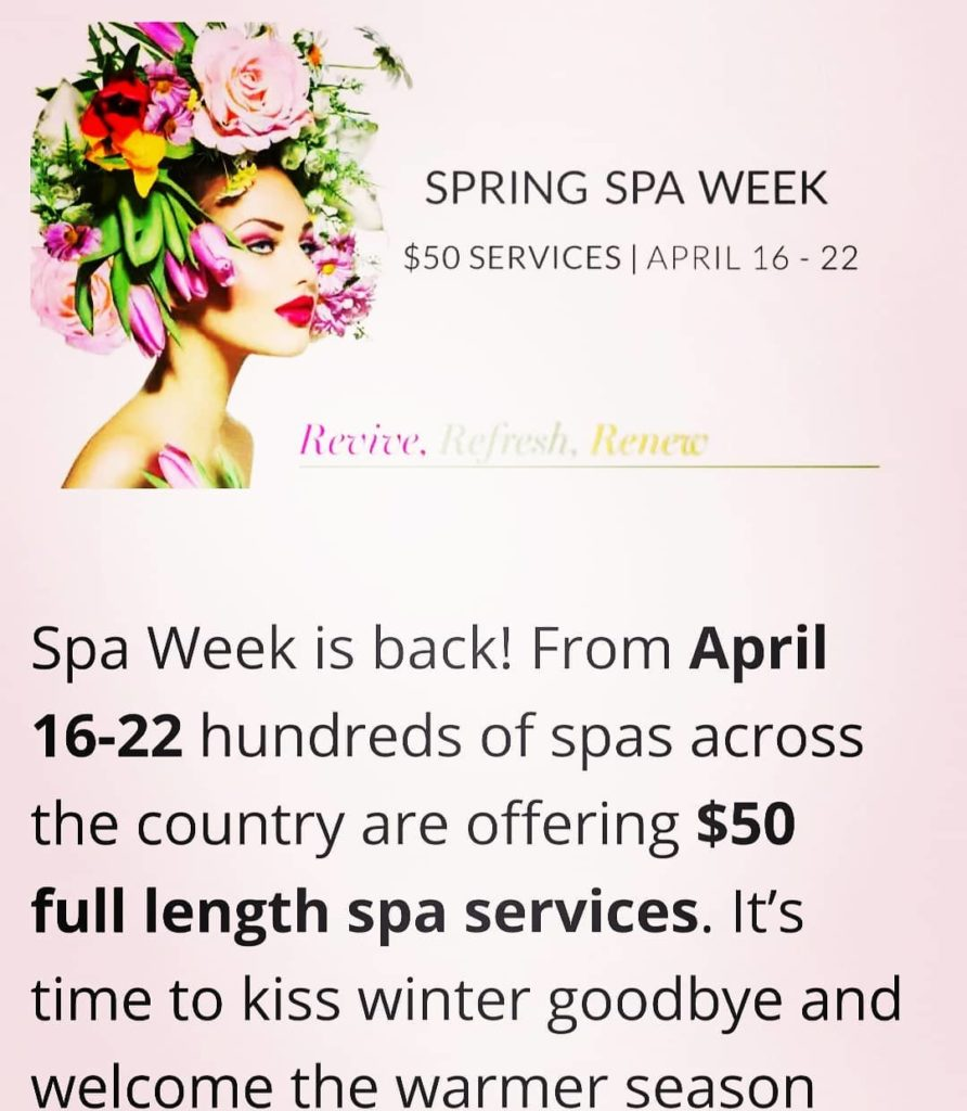 SpaWeek $50 are now available to book during April . April 8-27th take advantage of our SPAWEEK deals!